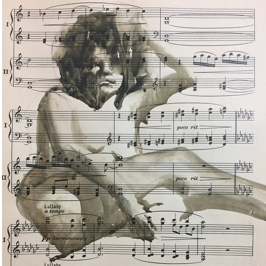 Watercolor on Music Sheets