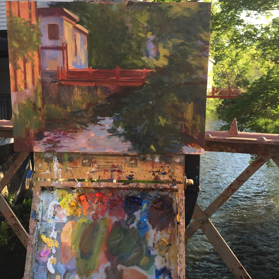 The Red Footbridge, Warwick NY painted plein air on a May sunny morning