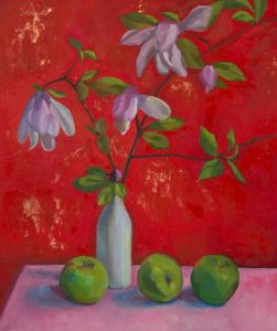 """Red Apple Magnolia, 20 x 24"""", oil on canvas, available at Vangoart.co, $750"""