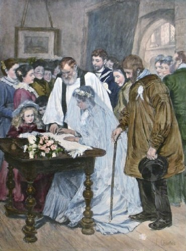 Marriage SIGNING THE MARRIAGE REGISTER From painting by James Charles exhibited Royal Academy 1895